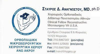 ΟΡΘΟΠΕΔΙΚΟΣ ΧΕΙΡΟΥΡΓΟΣ ΜΑΡΟΥΣΙ ΑΤΤΙΚΗ ΑΝΑΓΝΩΣΤΟΥ ΣΤΑΥΡΟΣ