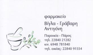 ΦΑΡΜΑΚΕΙΟ ΠΑΡΟΙΚΙΑ ΠΑΡΟΣ ΒΙΓΛΑ ΑΝΤΙΓΟΝΗ